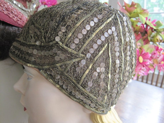 Vintage Gold Lame Sequined and Lace and Evening Cloche Hat