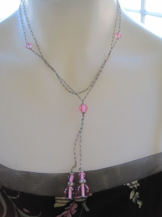 Vintage 1930s Art Deco Czech Pink Glass and Rhinestone Lariat Double Drop Necklace 36 Inches