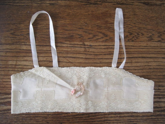 Vintage Silk Flapper Bra Lingerie Undergarment with Lace and Ribbon Art Work Bride Bridal