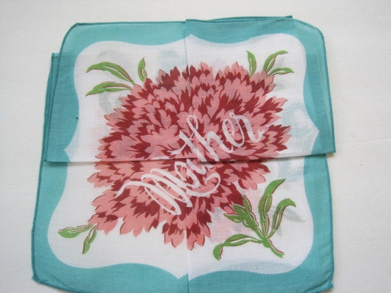 "RESERVED For Rachael ""MOTHER"" Hankie with Secret Fold Way Printed Carnation Flower Bridal Hankie Mother of Bride Gift"