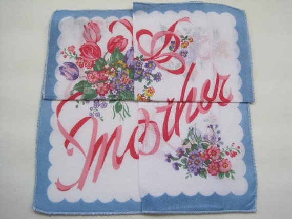 """Vintage MOTHER'S DAY """"MOTHER"""" Hankie with Secret Fold Way Printed Bouquet of Flowers Gift"""