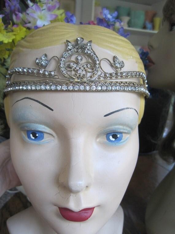 Vintage 20s Flapper Art Deco Dainty Princess Floral Filigree Tiara Crown Rhinestone Paste Headband Bride Bridal Wedding Headpiece