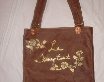 Leather Tote Bag-Large Brown Handpainted Tote with Karung Snake Trim