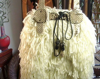 White Crochet Tote-Large with Python Snakeskin Trim and Black Suede Lace with Beads