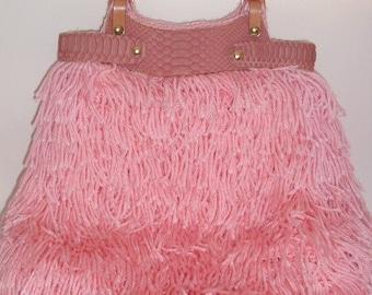 Crochet Handbag- Pastel Pink with Pink Python Snakeskin Trim