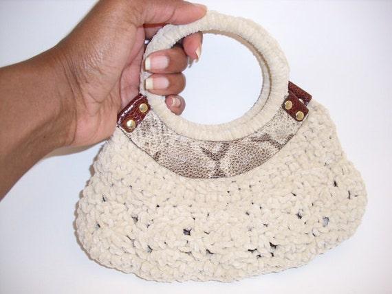 Hand Crochet Wrist Bag- Ecru Suede Yarn with Leather and Ostrich Knee Trim