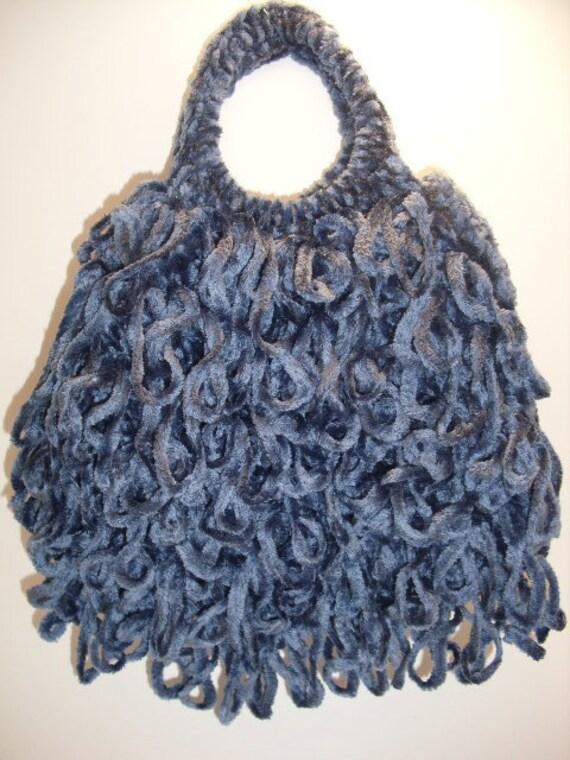 Small Crochet Handbag- Denim Blue Chenille