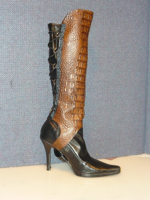 Alligator Embossed Faux Leather Spats