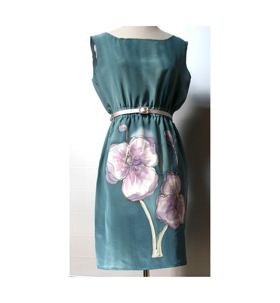 Floral Silk Summer Dress Handpainted Teal  Romantic Elegant Formal Prom Bridesmaids 1950s Style