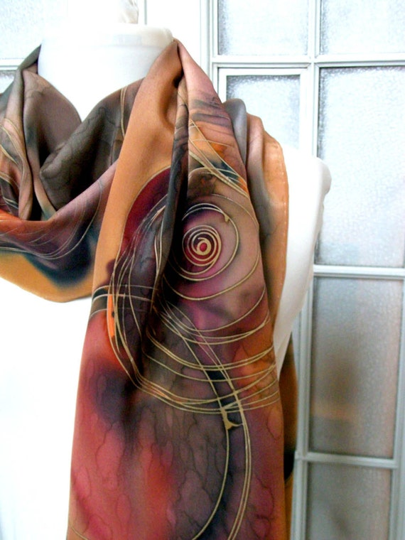 Hand Paintend Oblong Crepe Silk  Scarf  Brown Red Yellow Black Geometric