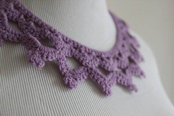 Crochet Necklace  Victorian Lace Collar Lavendar Purple