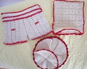 RESERVED FOR DIANNA Vintage Hot Pads, Pot Holders, 3-Piece Red and White Set