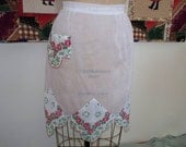 RESERVED FOR DIANNA Vintage Half Apron, Half Apron, Handkerchief Apron, Pink Roses, Pink and Green, White Organdy, Kitsch