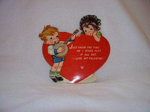 SALE, FREE Ship to US Vintage Children Valentine Card, 1930s, 1940s, 30s, 40s