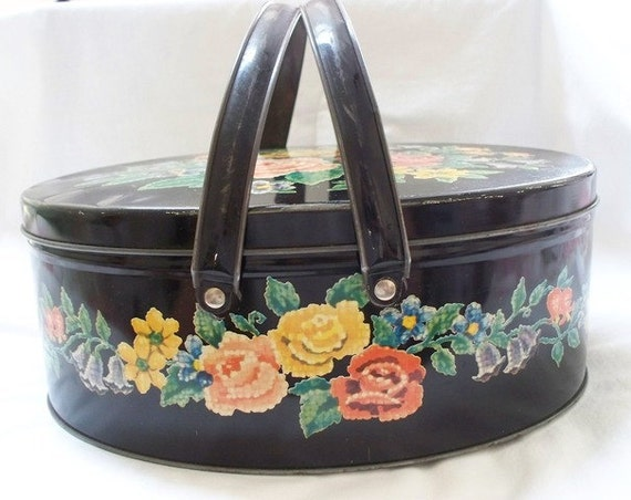 RESERVED for PIRATES Shabby Chic Sewing Tin, Two Handled, Vintage Black Metal Tin, Colorful Floral Motif, 1940s, 1950s, Red, Pink, Yellow
