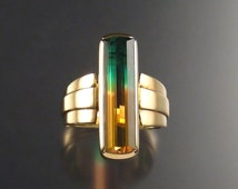 Watermelon Tourmaline Ring Handmade in 14k Yellow Gold one of a kind top color rare gemstone