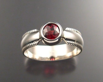 Garnet Mans Ring, Sterling, Any size