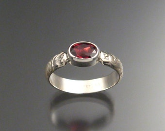 Garnet ring, Sterling Silver, any size