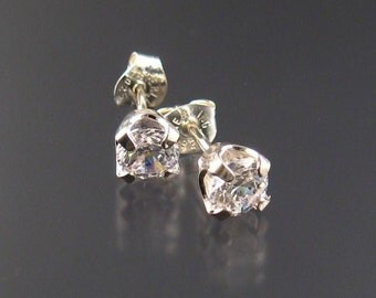 White CZ post earrings, Sterling