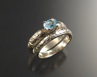 Blue Topaz wedding set, Sterling Silver, any size