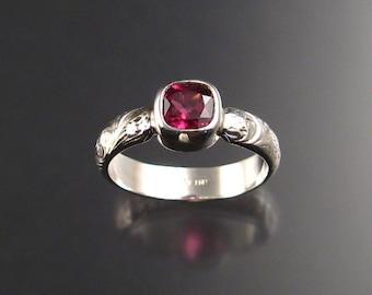 Pink Garnet ring Sterling silver Rhodolite Garnet ring made to order in your size