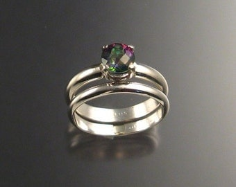Mystic Topaz Wedding Set, Sterling Silver, any size