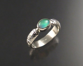 Moonstone and lab Opal Doublet ring, Sterling, any size