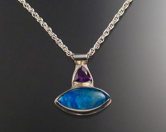 Moonstone / Lab Opal Doublet and Amethyst Necklace, Sterling Silver