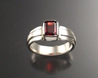 Garnet Man's Ring, Sterling, Any size