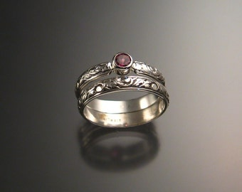 Pink Garnet Wedding set, Sterling, Any size