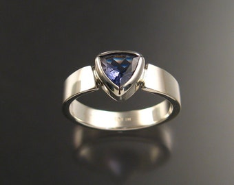 Iolite Trillion cut ring sterling silver Sapphire substitute ring made to order in you size