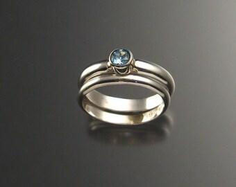 Blue Topaz wedding set, Sterling, any size