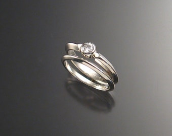 White CZ wedding set, bezel-set, Sterling silver, any size