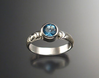 London Blue Topaz ring Sterling silver made to order in any size 6mm round brilliant stone