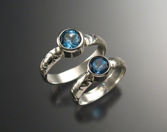 London Blue Topaz His and Hers Wedding set Sterling Silver Wedding rings made to order