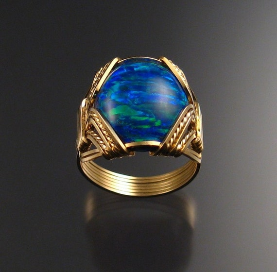 Lab created Opal ring, 14k gold-filled, any size