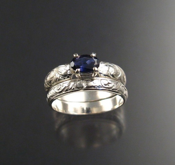 Iolite wedding set, Sterling Silver Ring Set, any size, Blue Natural Gemstone