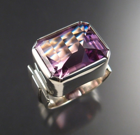 Amethyst men's ring extra large Sterling