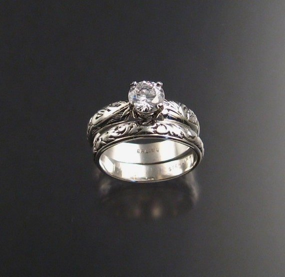 White Cubic Zirconium Wedding set Sterling Silver made to order in your size diamond substitute two ring set