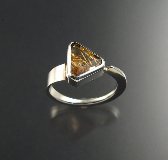 Rutilated Quartz ring Sterling silver size 8 1/2