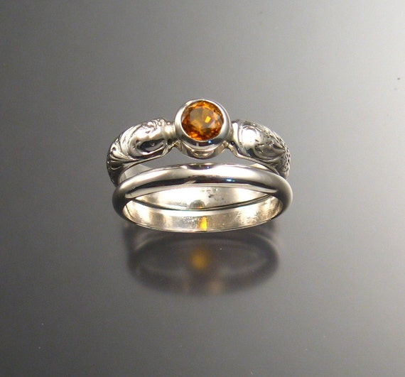 Orange Garnet Wedding set, Sterling, Any size