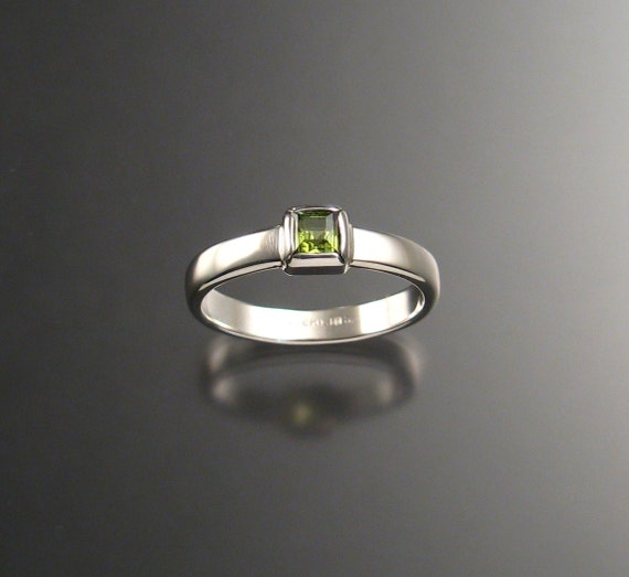 Peridot ring handmade to order in your size Sterling Silver square stone bezel set ring