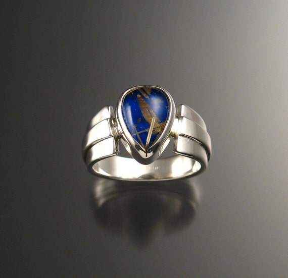 Lapis and Rutilated Quartz Doublet Ring, Sterling Silver, Size 10 1/2