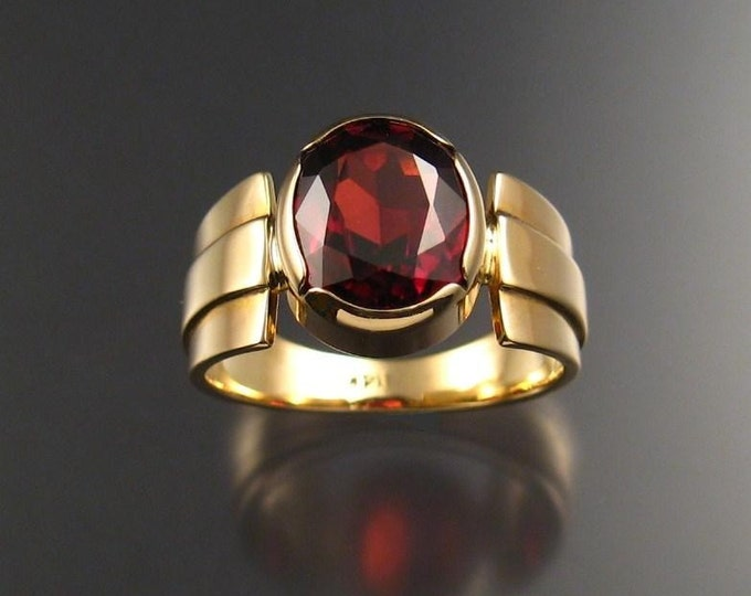 Garnet men's ring 14k Gold size 9 large oval stone bezel set mans ring