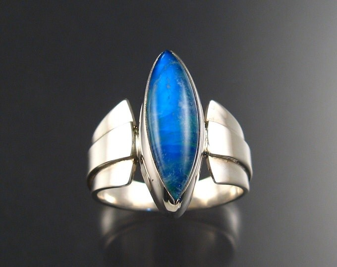 Moonstone / lab Opal doublet man's ring, Sterling