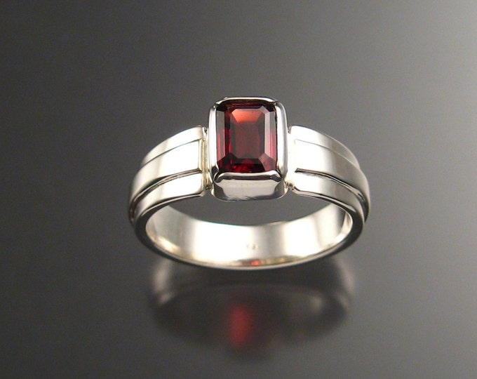 Garnet Man's Ring, Sterling Silver made to order in your size