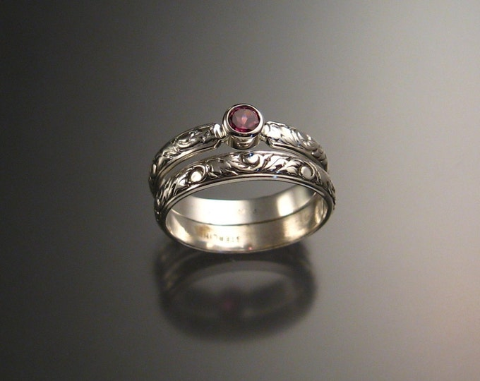 Pink Garnet Wedding set Sterling Silver made to order in your size