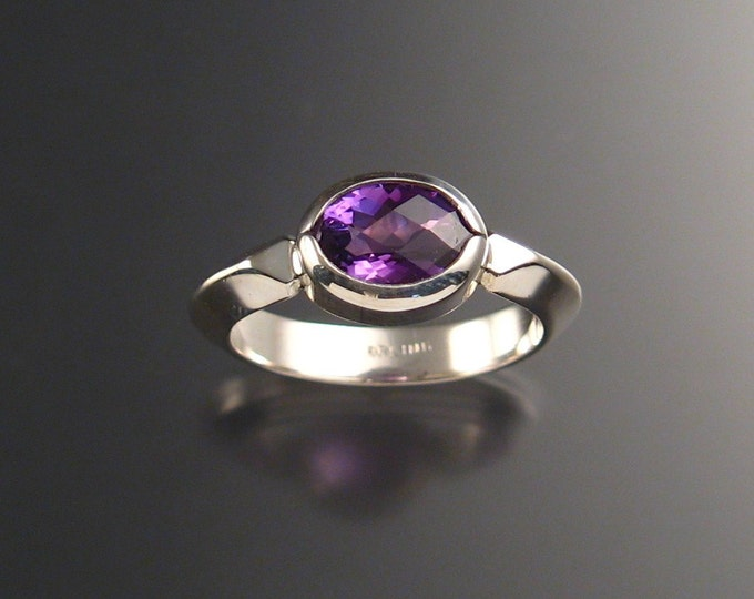 Amethyst ring Sterling silver checkerboard cut stone made to order on your size