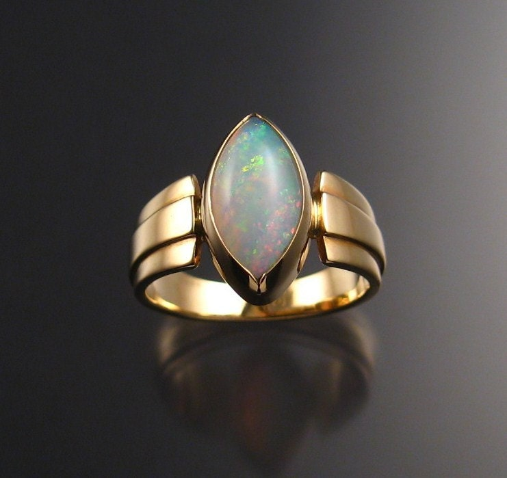 opal marquise ring 14k yellow gold size 7 3 4