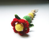 Eco- Friendly, all Natural Teething Flower Toy- 100% Cotton, Choose your color- Ready to Ship